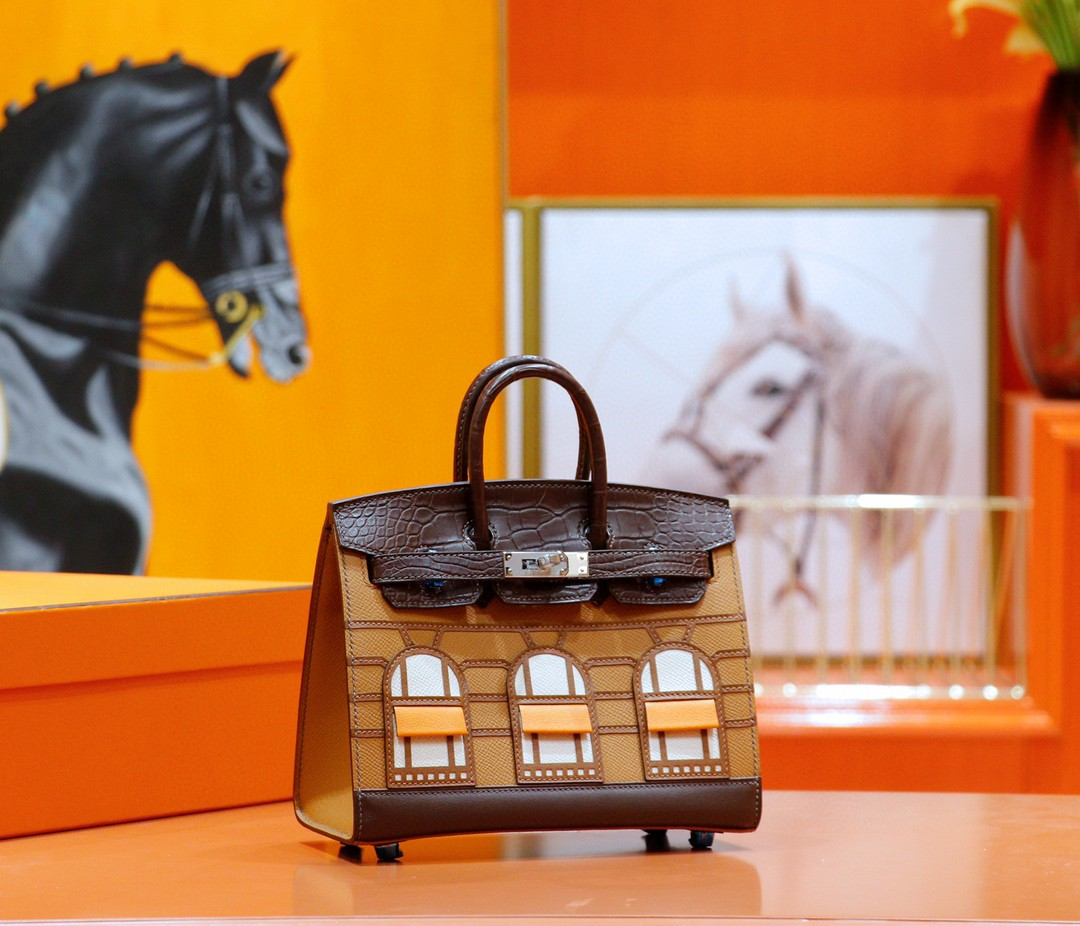 Hermès(爱马仕)Birkin 小房子 铂金包 金棕拼咖啡色 鳄鱼皮 银扣 20cm