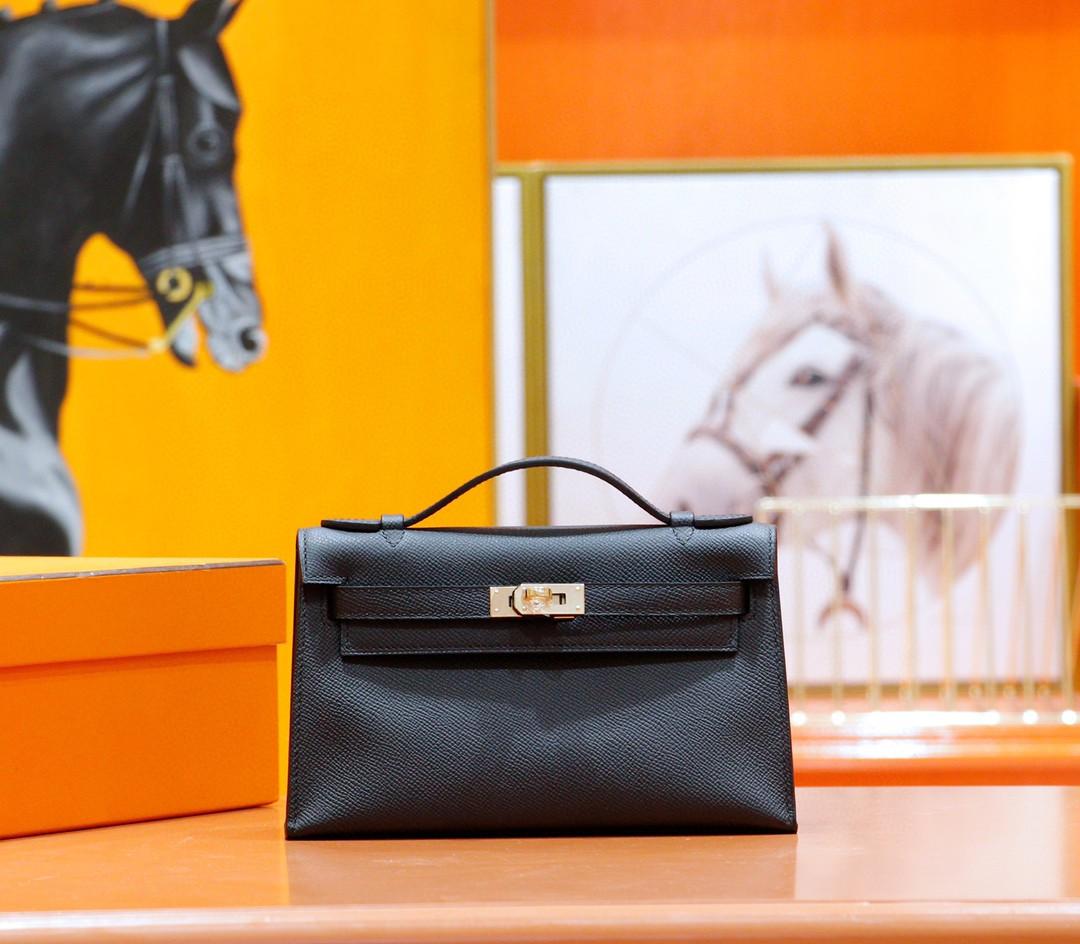 Hermès(爱马仕)Minikelly 迷你凯莉 晚宴包 黑色 Epsom 全手缝 金扣 22cm