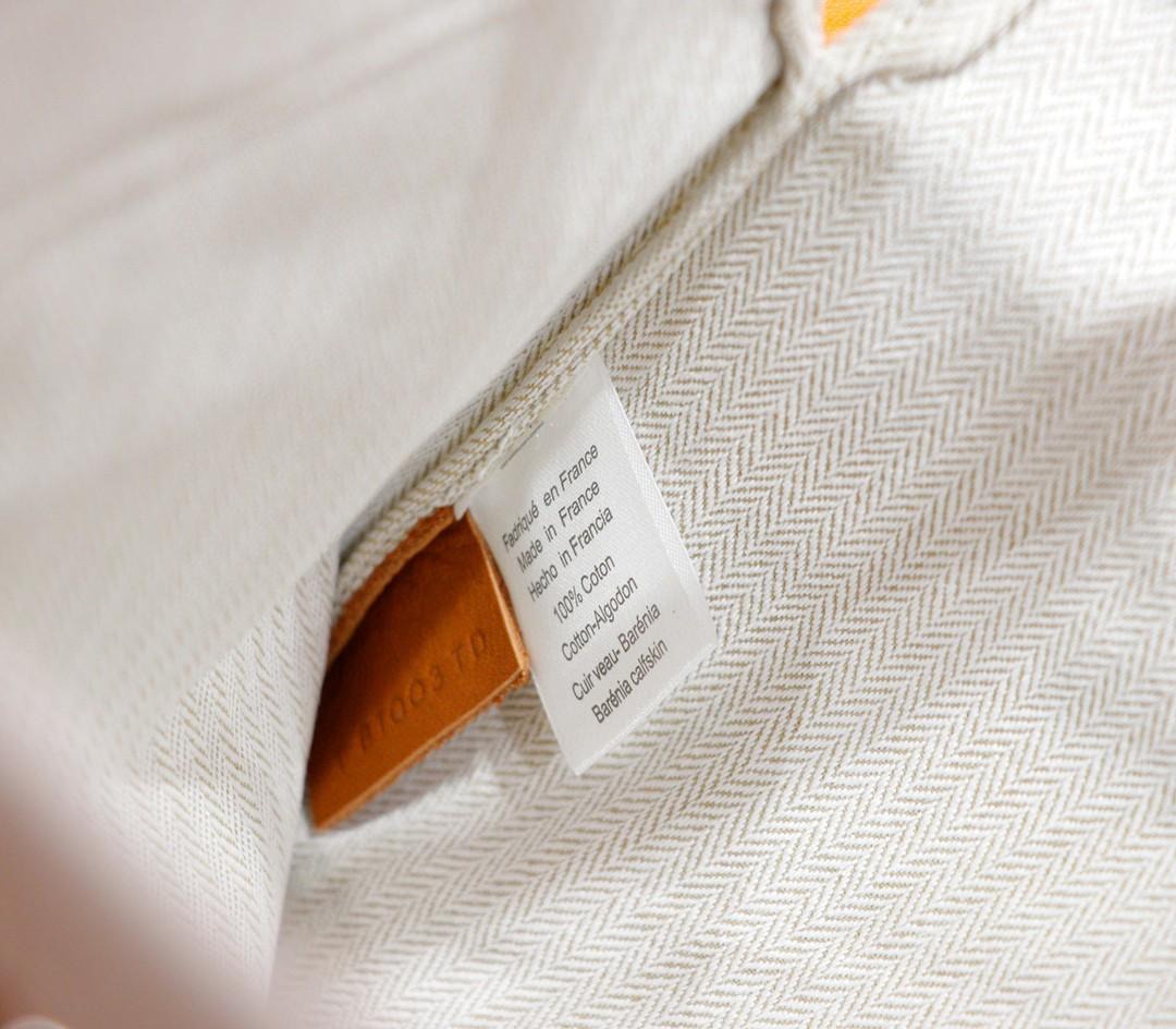 Hermès(爱马仕)Aline 米色 原版帆布拼Swift皮 金棕色 银扣