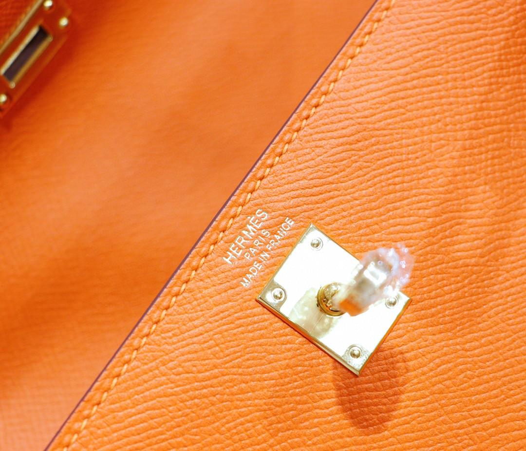 Hermès(爱马仕)Kelly 凯莉包 橙色 Epsom 全手缝 金扣 25cm