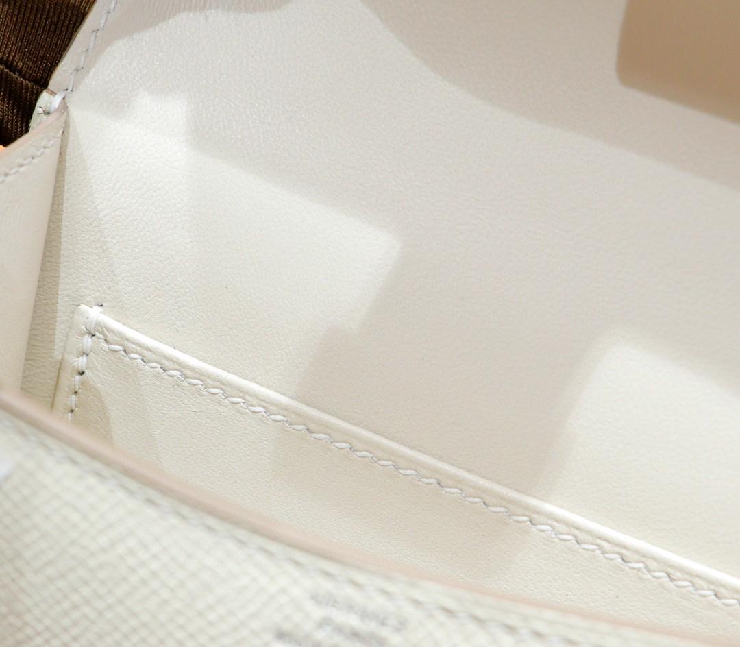 Hermès(爱马仕)Constance 空姐包 奶昔白 Epsom 全手缝 银扣 14cm