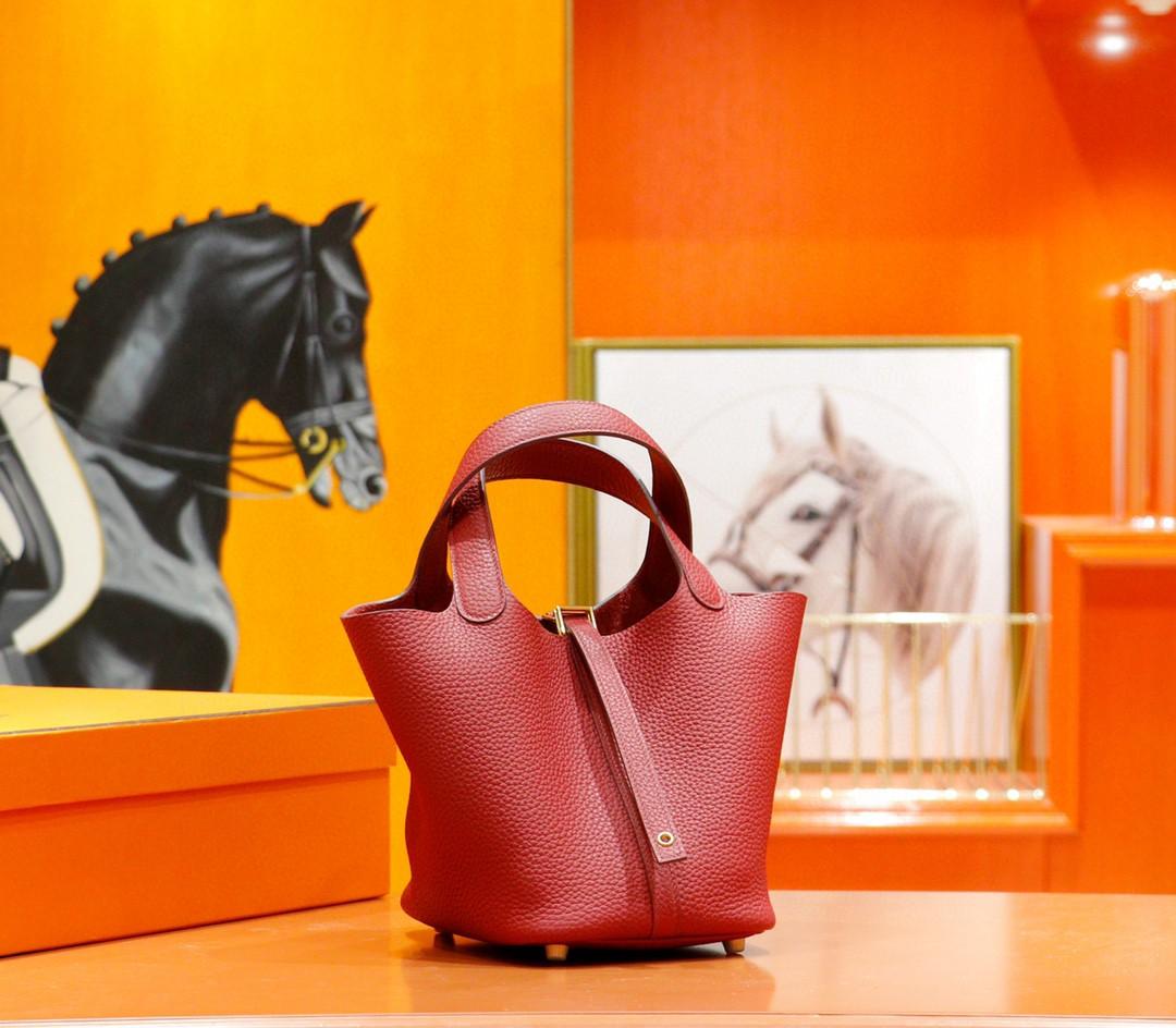 Hermès(爱马仕)Picotin 菜篮子 石榴红 全手缝 金扣 18cm