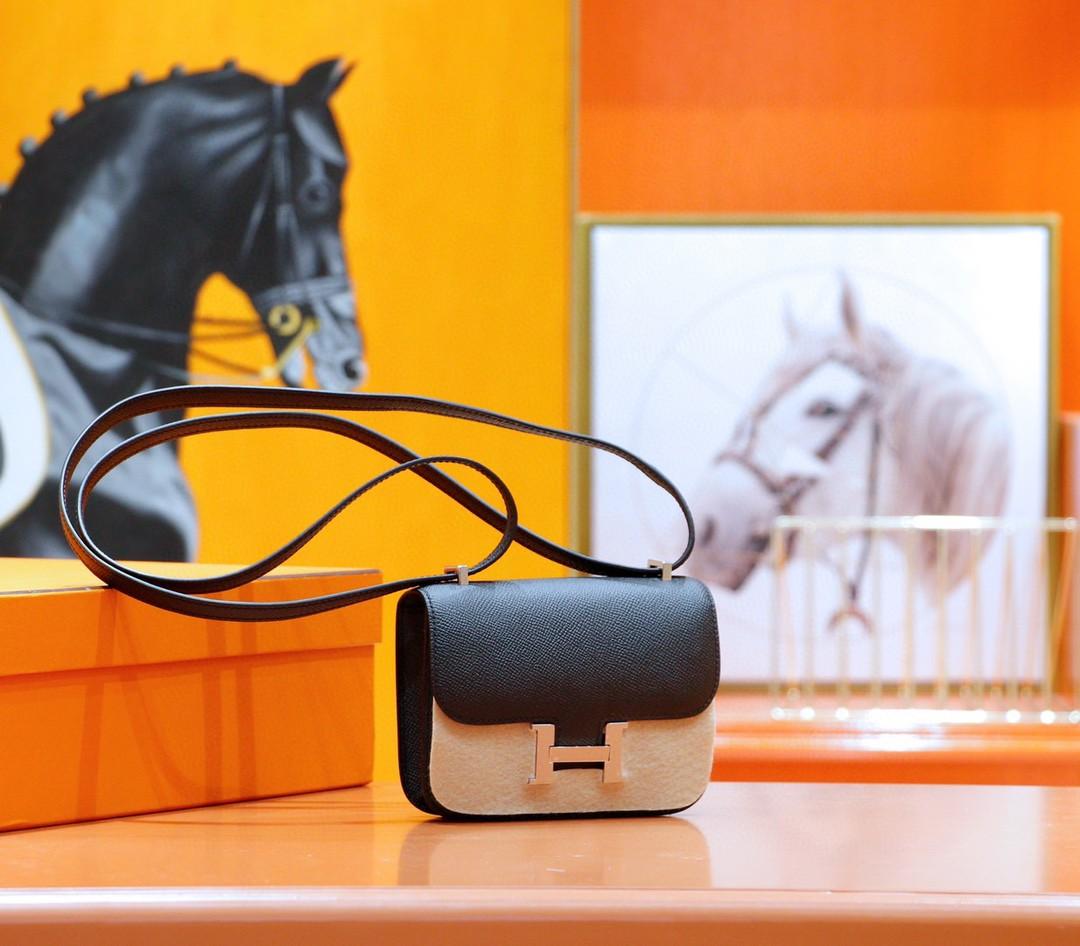 Hermès(爱马仕)Constance 空姐包 黑色 Epsom 全手缝 银扣 14cm