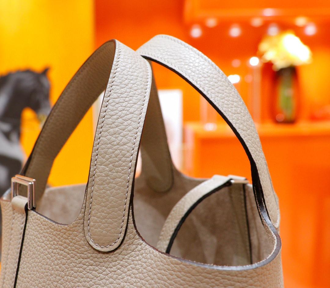 Hermès(爱马仕)Picotin 菜篮子 风衣灰 Togo 全手缝 银扣 18cm