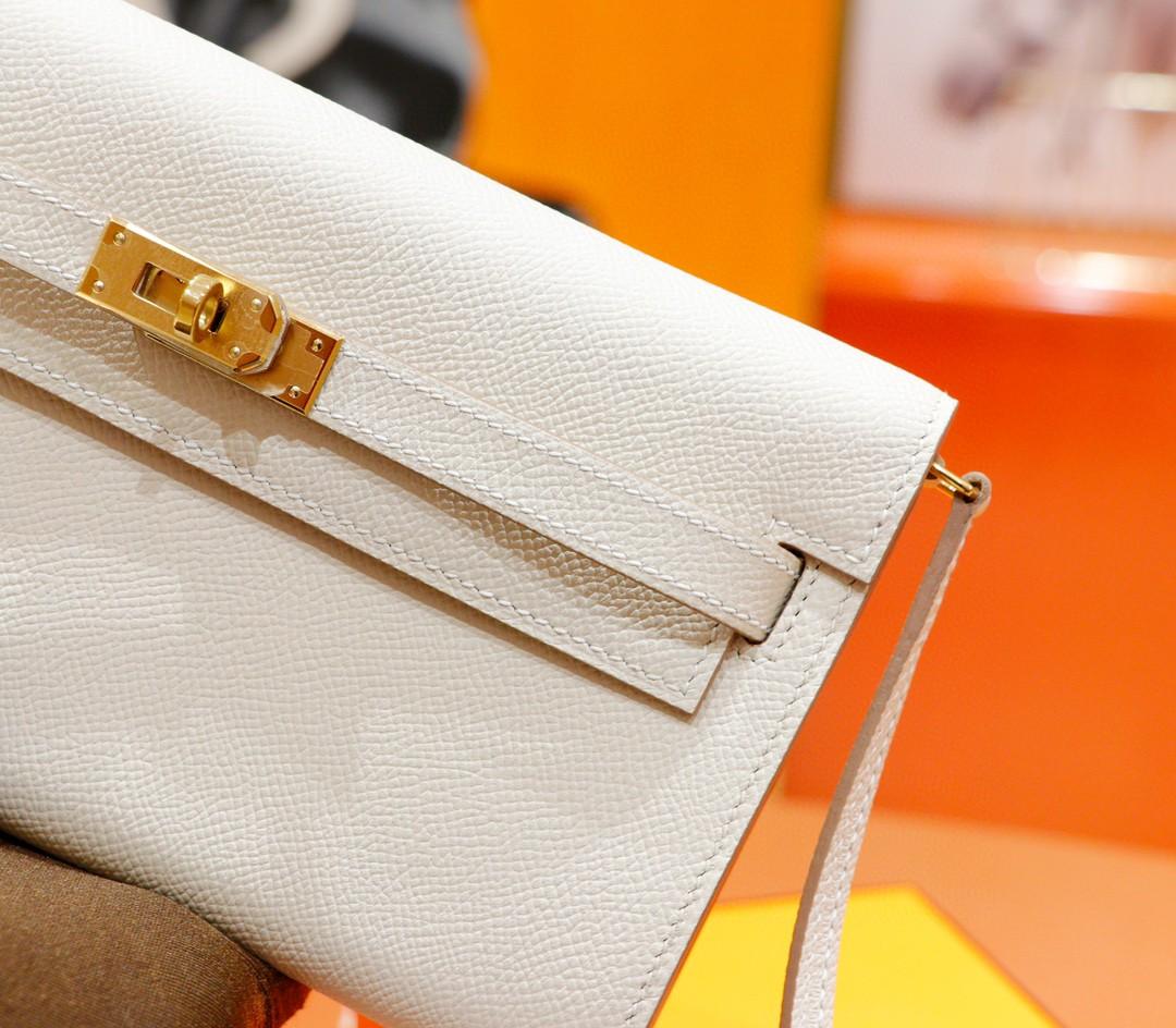 Hermès(爱马仕)Kelly ToGo 奶昔白 Epsom 全手缝 金扣