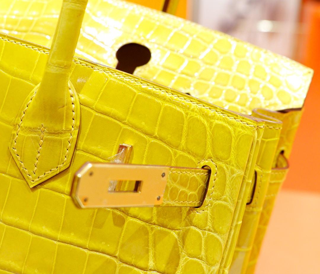 Hermès(爱马仕)Birkin 铂金包 亮面鳄鱼皮 琥珀黄 金扣 30cm