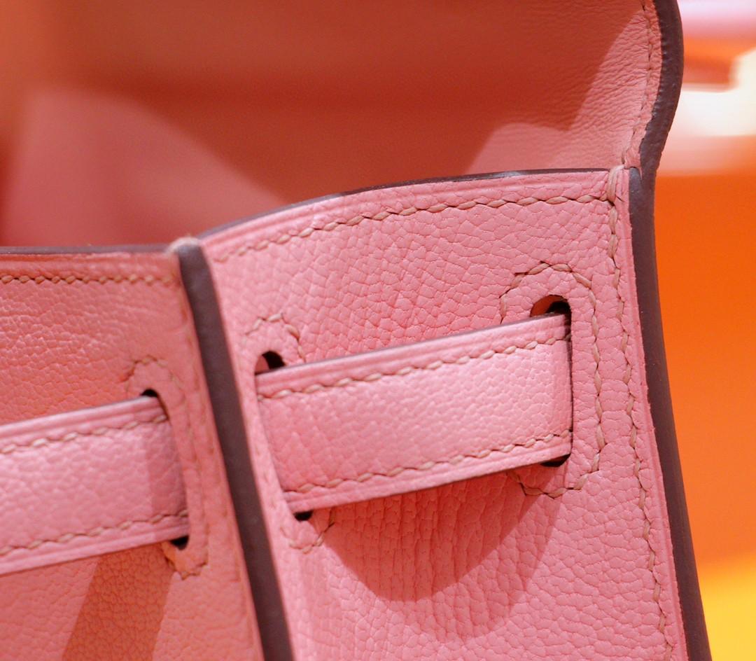 Hermès(爱马仕)Minikelly 迷你凯莉 奶昔粉 山羊皮 全手缝 银扣 2代