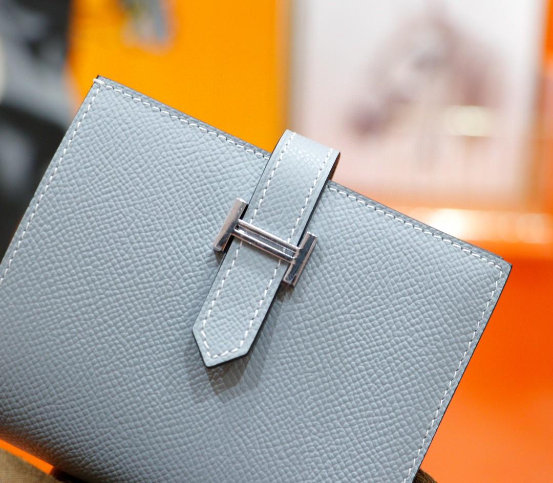Hermès(爱马仕)Beran 短款经典钱夹 亚麻蓝 Epsom 银扣