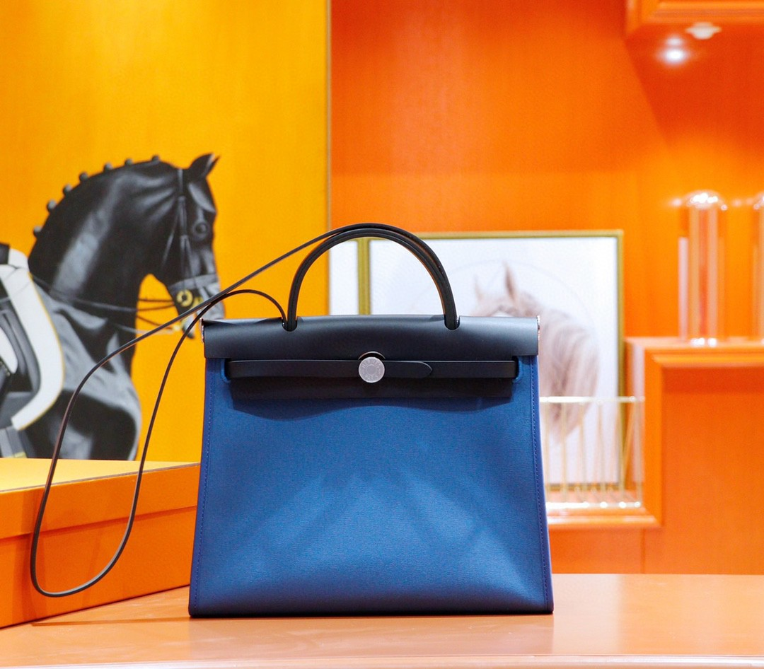 Hermès(爱马仕)Herbag 伊兹密尔蓝 原版帆布拼原厂皮 最高版本 银扣 31cm
