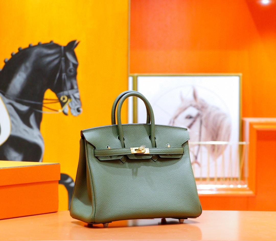 Hermès(爱马仕)Birkin 铂金包 橄榄绿 Togo 全手缝 金扣 25cm