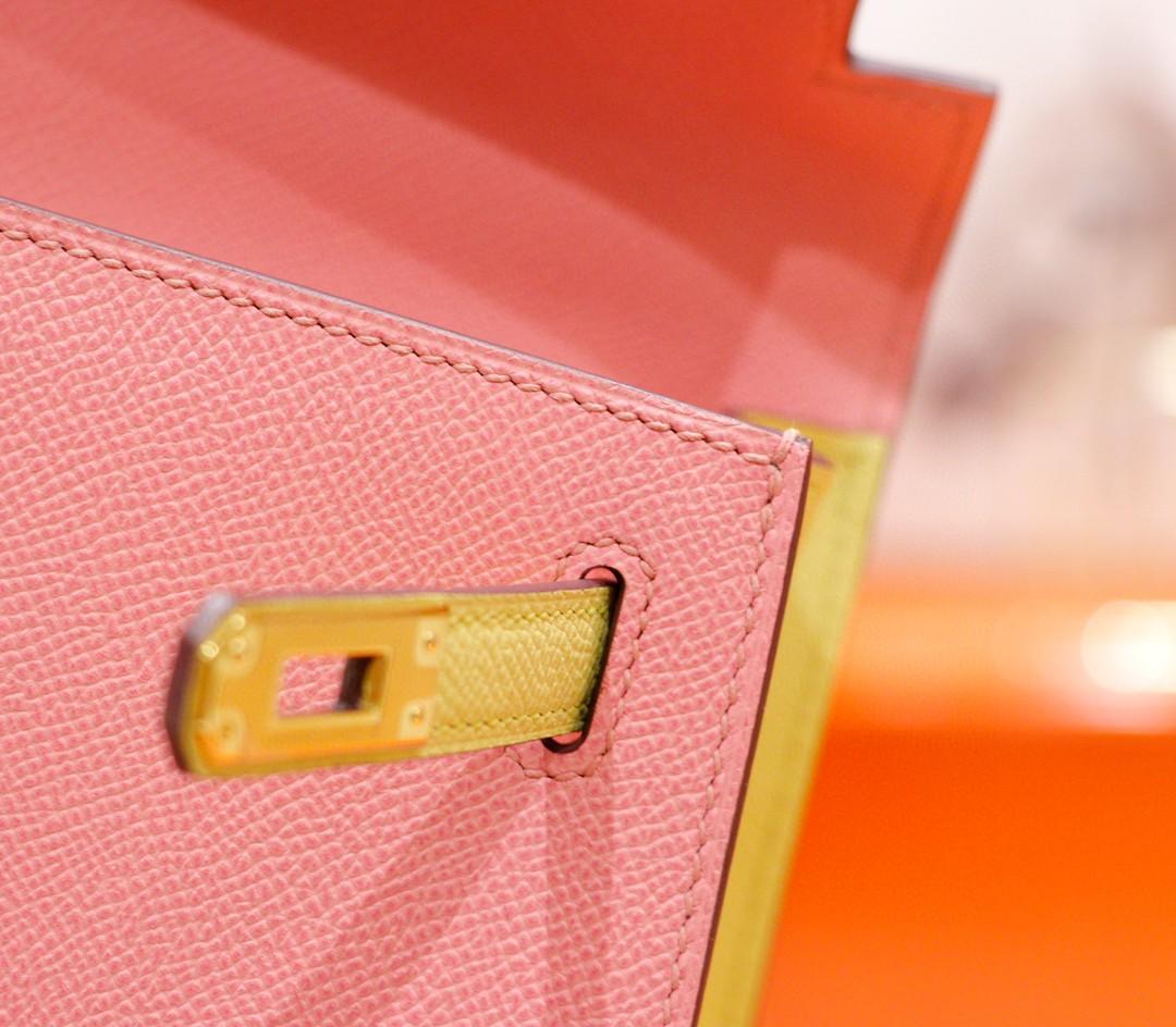 Hermès(爱马仕)Kelly 凯莉包 奶昔粉拼鹅蛋黄 Epsom 全手缝 金扣 25cm