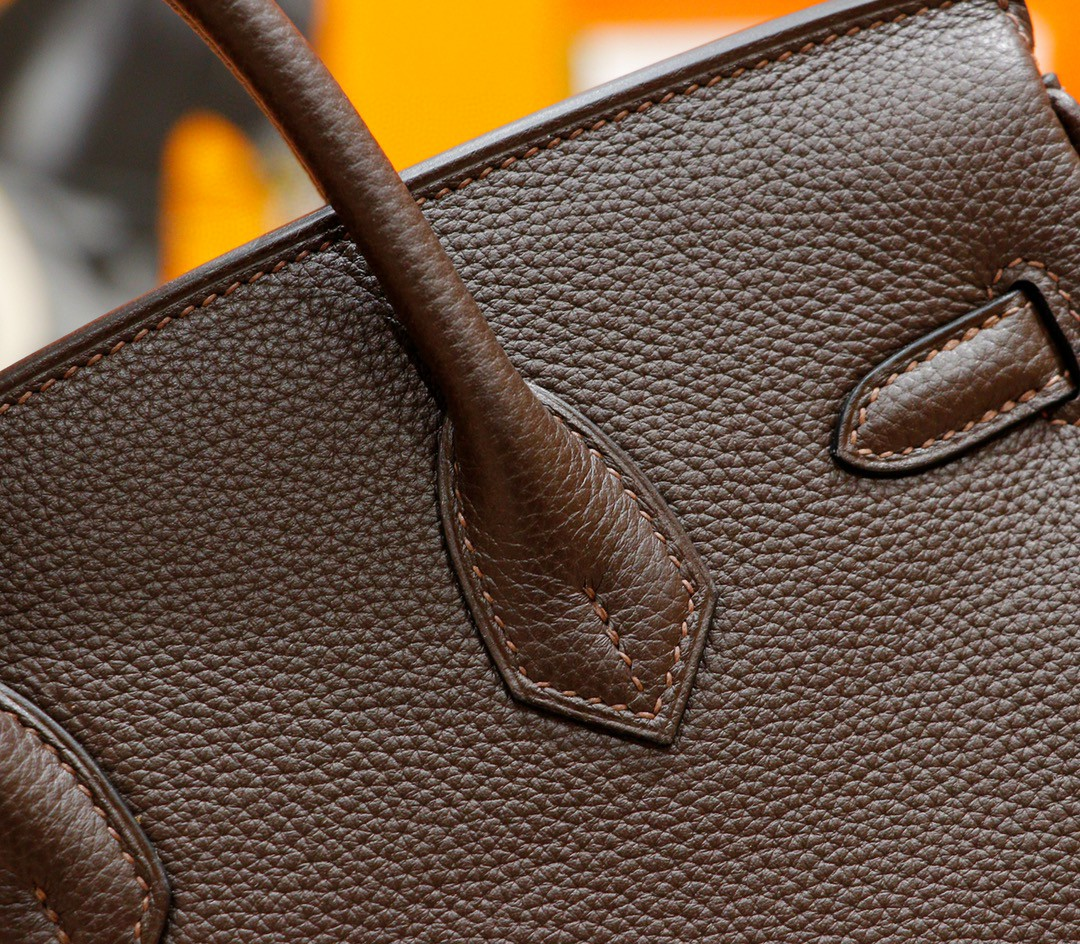 Hermès(爱马仕)Birkin 铂金包 乌木色内拼金棕 Togo 全手缝 银扣 25cm