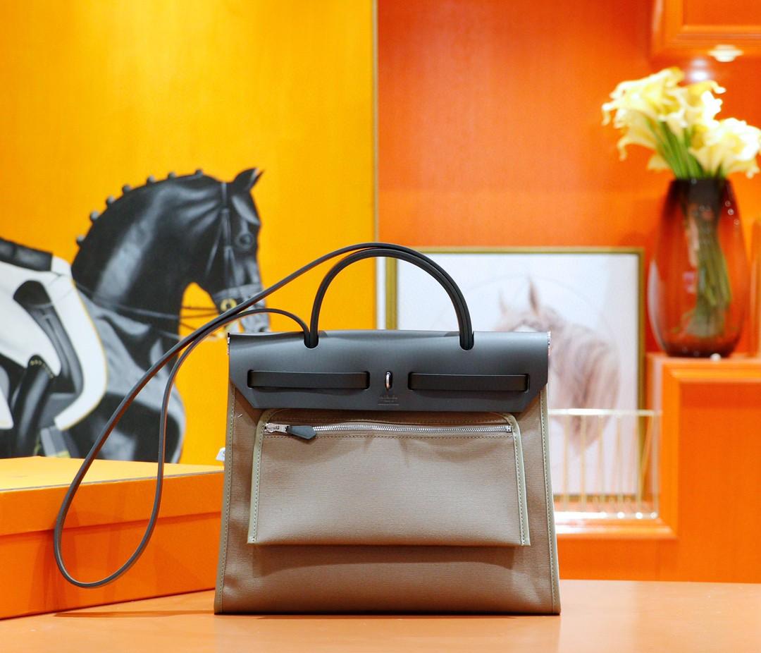 Hermès(爱马仕)Herbag 大象灰 原版帆布拼原厂皮 最高版本 银扣 31cm