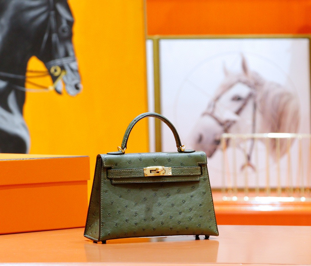 Hermès(爱马仕)Minikelly 迷你凯莉 橄榄绿 南非鸵鸟皮 全手缝 金扣 2代