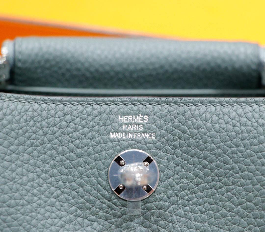 Hermès(爱马仕)Lindy 杏仁绿 Togo 全手缝 银扣 20cm