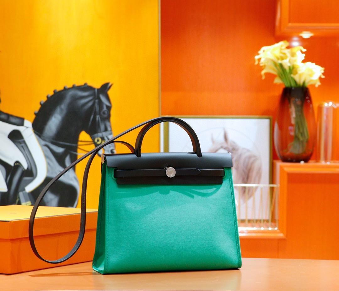 Hermès(爱马仕)Herbag 竹子绿 原版帆布拼原厂皮 最高版本 银扣 31cm