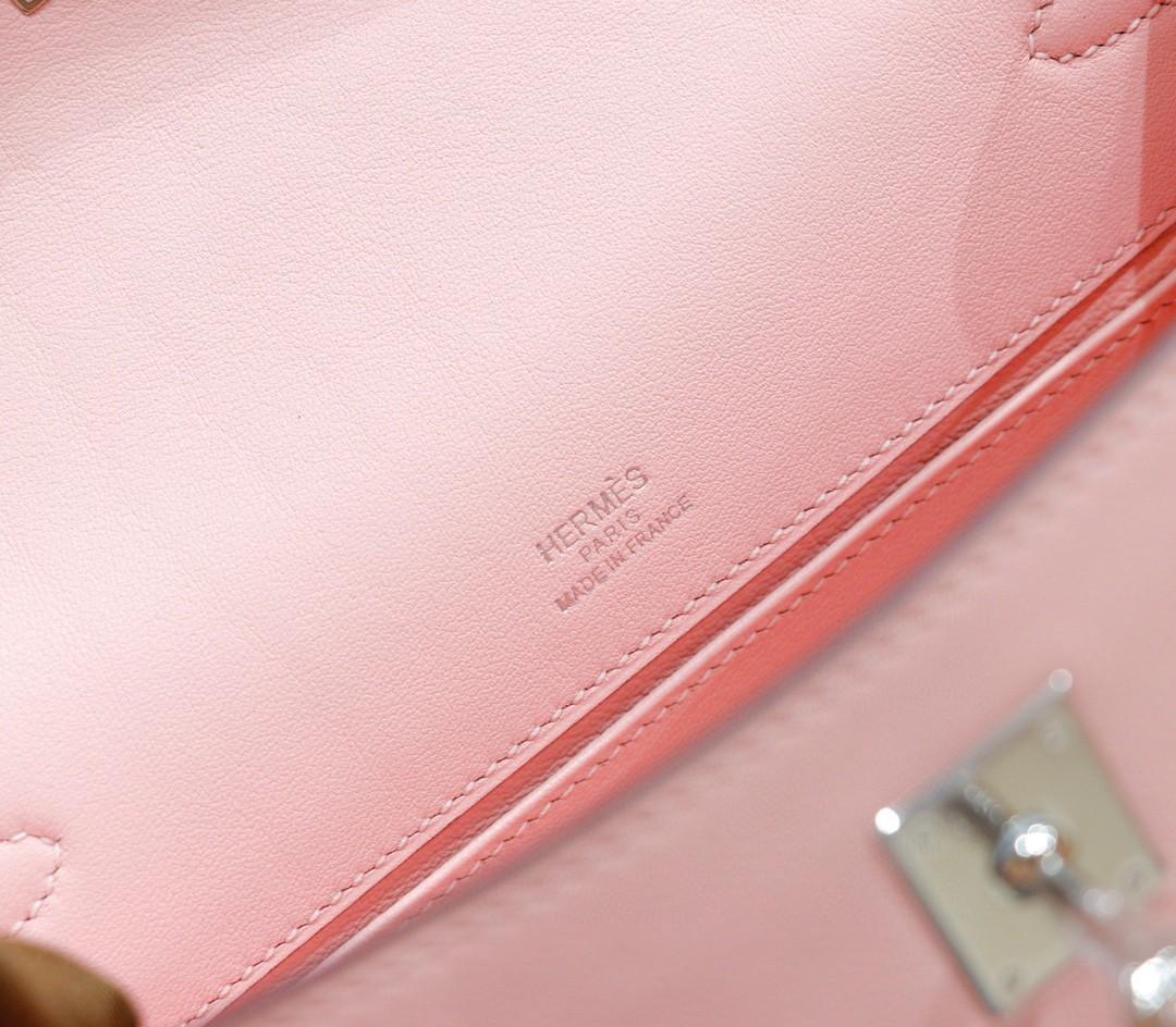 Hermès(爱马仕)Minikelly 迷你凯莉 奶昔粉 Swift 全手缝 银扣 晚宴包