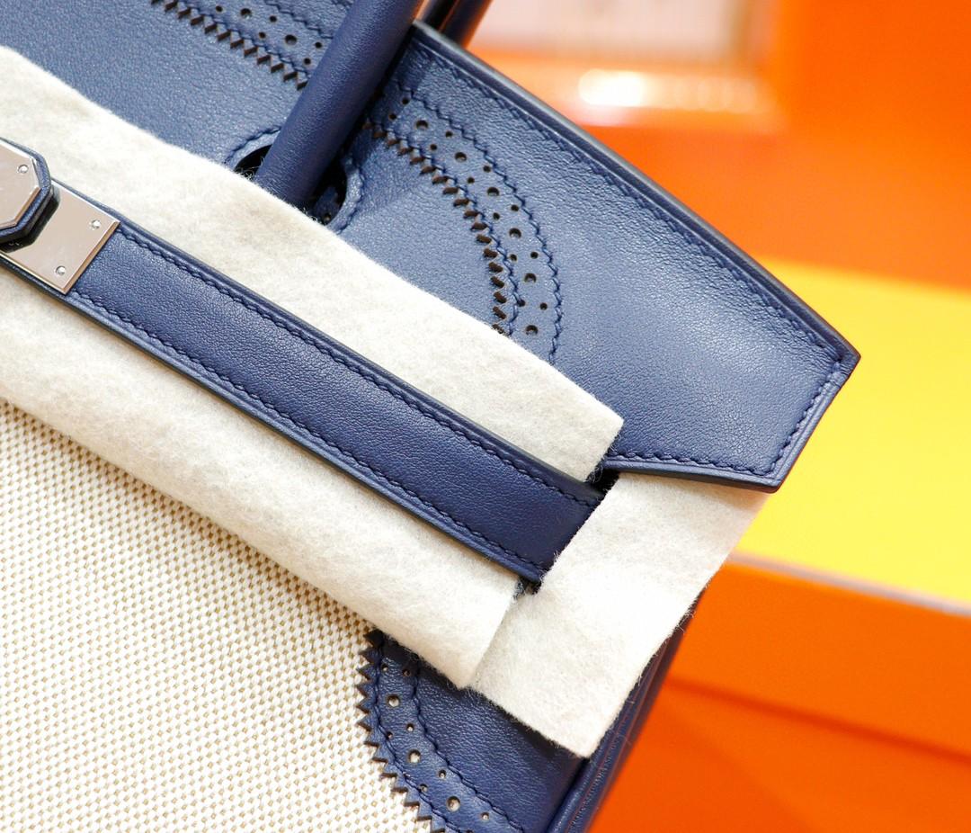 Hermès(爱马仕)Birkin 宝蓝色 Swift拼原版帆布 经典蕾丝款 银扣 35cm 全手缝
