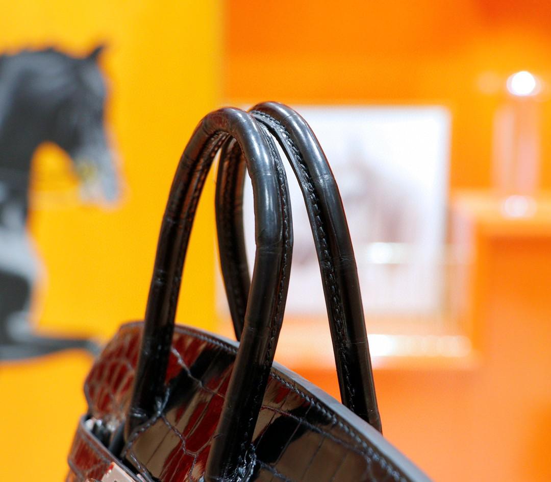 Hermès(爱马仕)Birkin 铂金包 黑色 亮面鳄鱼皮 银扣 25cm