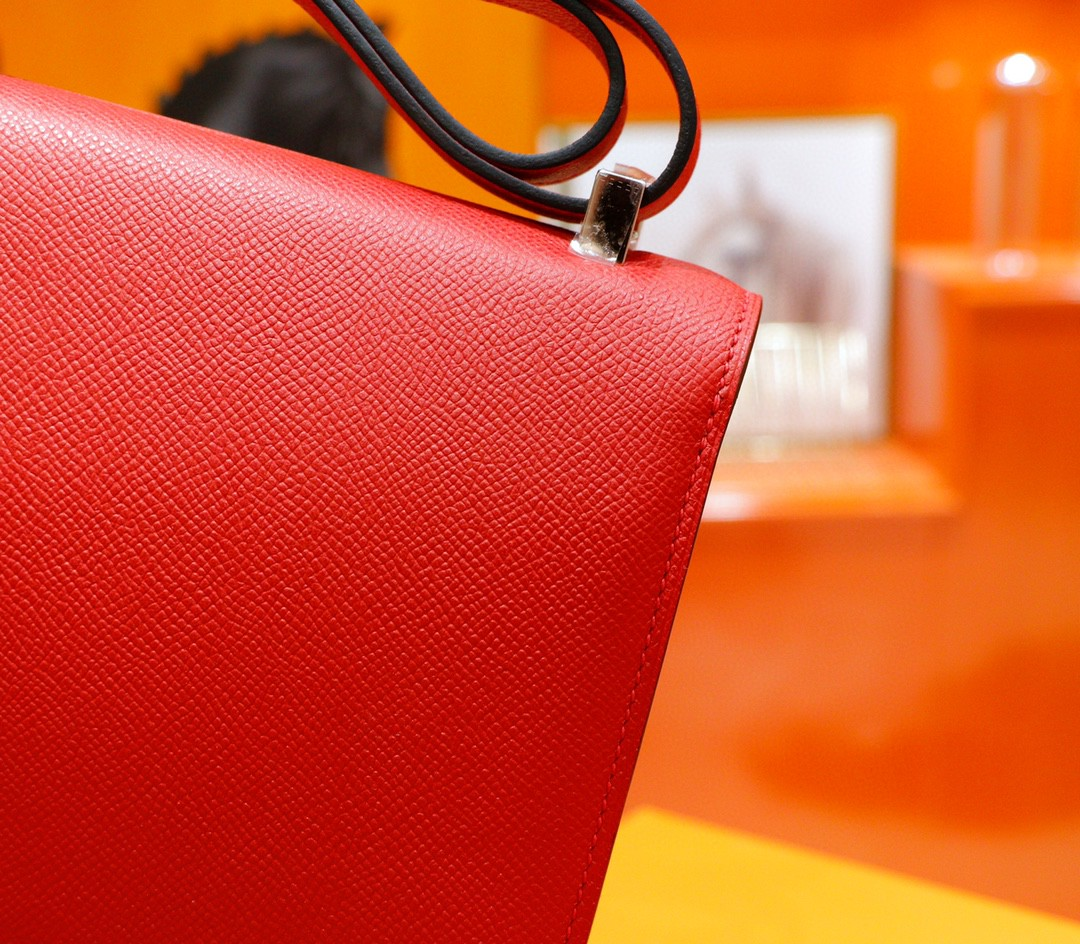 Hermès(爱马仕)Constance 空姐包 国旗红 Epsom 全手缝 银扣 24cm