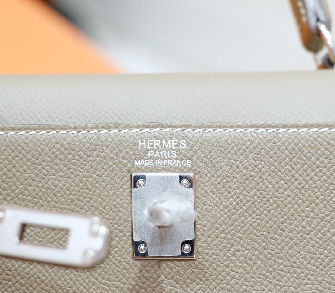Hermès(爱马仕)Kelly 凯莉包 大象灰 Epsom 全手缝 银扣 25cm