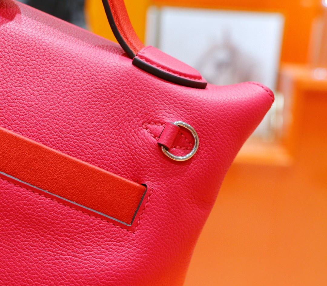 Hermès(爱马仕)Kelly 2424 玫瑰粉 拼 心红色 Evercolor 拼 Swift 银扣 21cm 全手缝