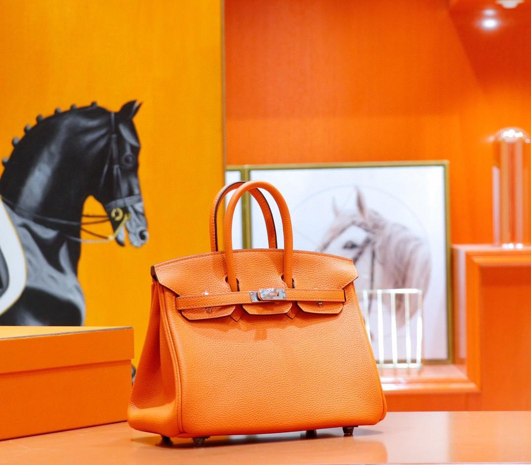 Hermès(爱马仕)Birkin 铂金包 橙色 Togo 全手缝 银扣 25cm