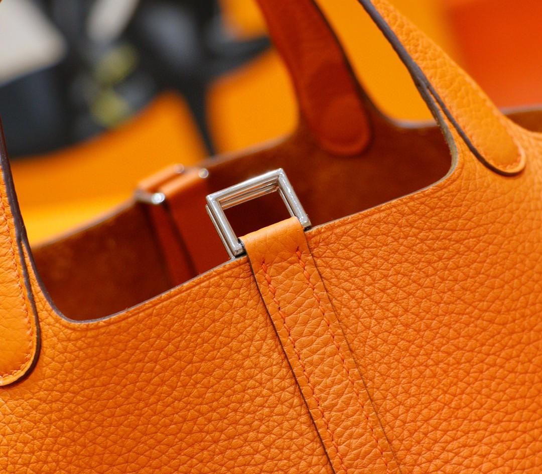 Hermès(爱马仕)Picotin 菜篮子 橙色 Togo 全手缝 银扣 18cm