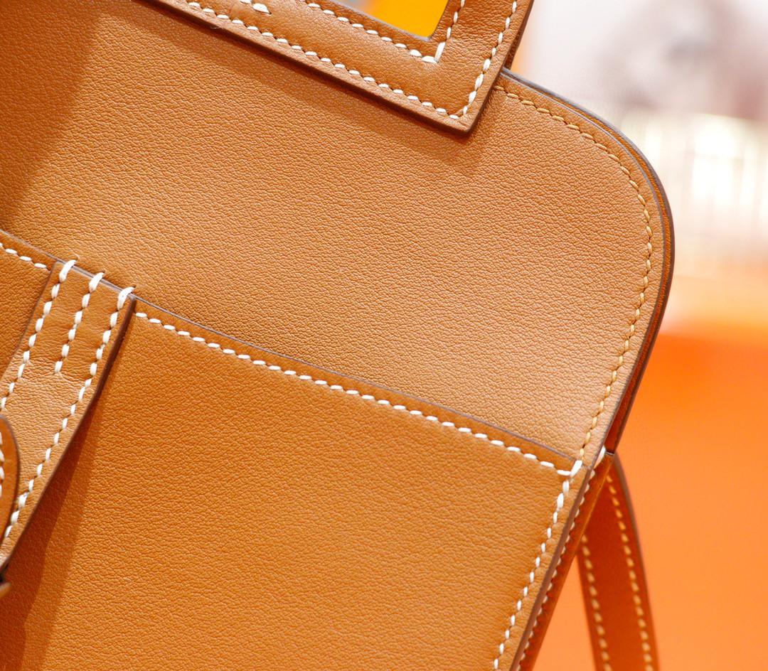 Hermès(爱马仕)Halzan 金棕色 Swift 全手缝 银扣 20cm
