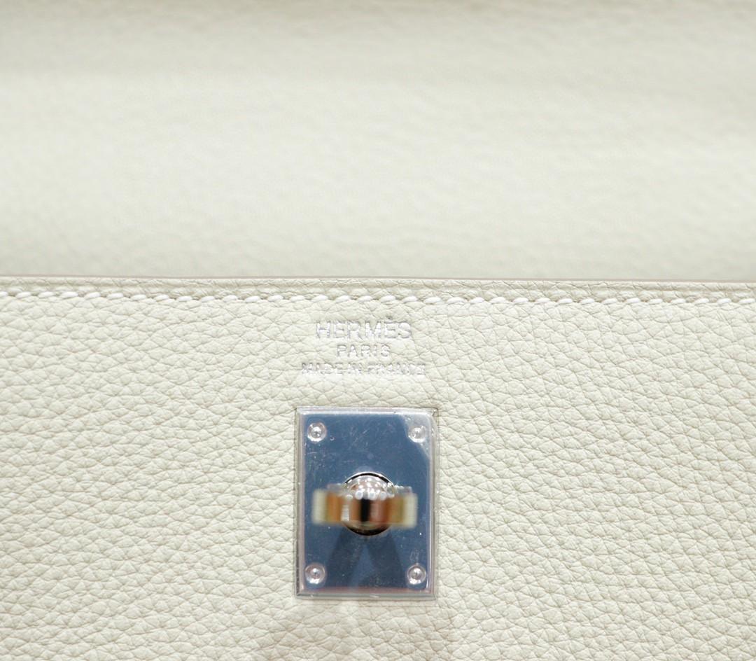 Hermès(爱马仕)Kelly 凯莉包 奶昔白 Togo 全手缝 银扣 25cm