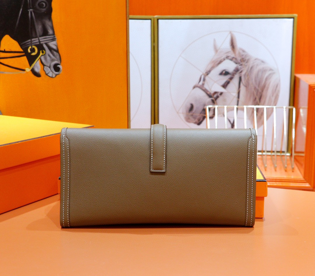 Hermès(爱马仕)Jige 长款手包 大象灰 Epsom 全手缝 29cm