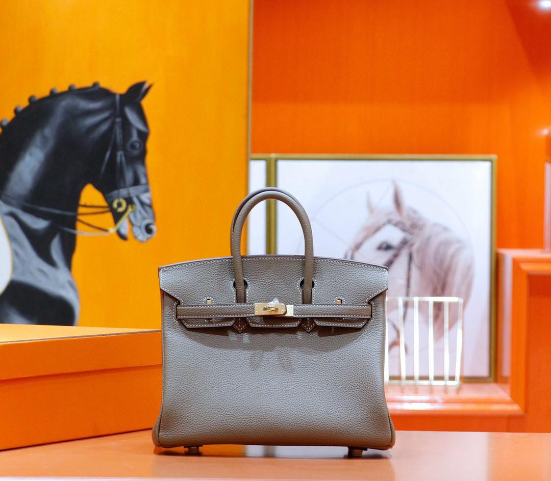 Hermès(爱马仕)Birkin 铂金包 大象灰 Togo 全手缝 金扣 25cm
