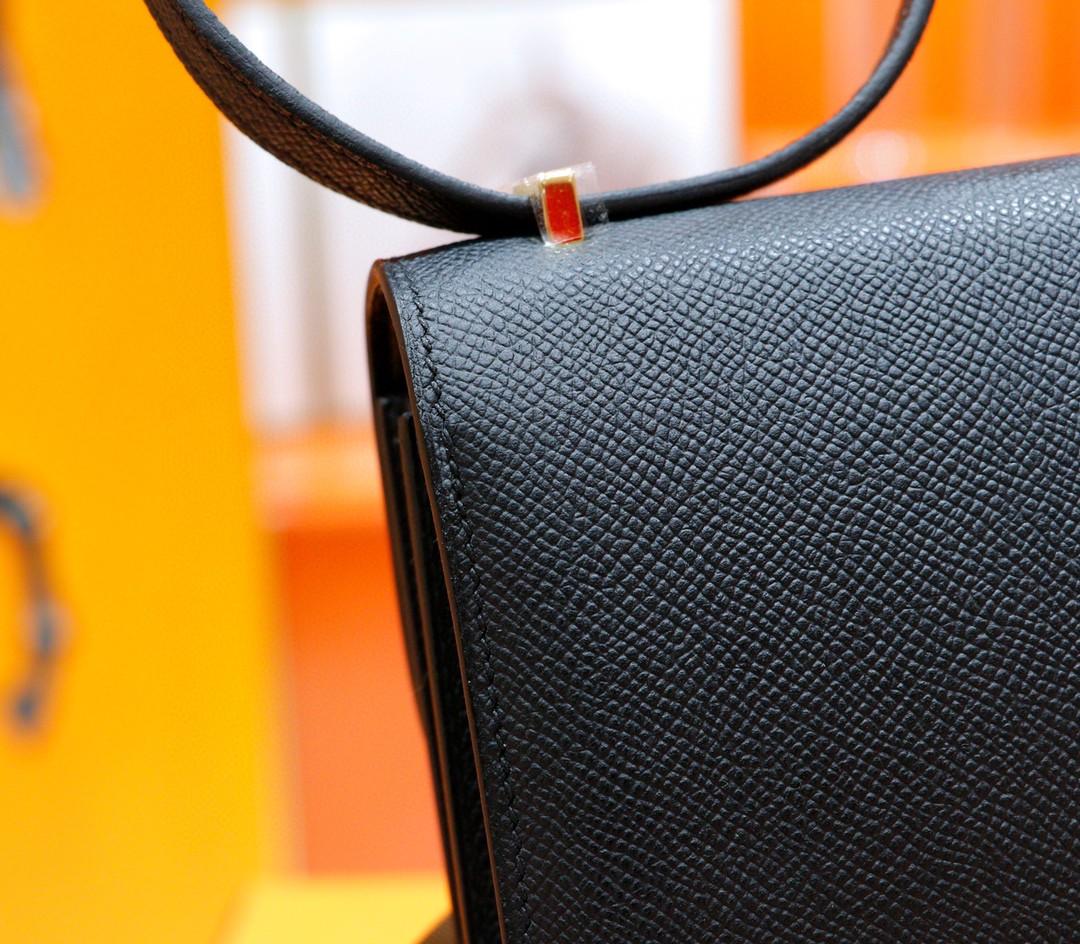 Hermès(爱马仕)Constance 空姐包 黑色 Epsom 金扣 19cm