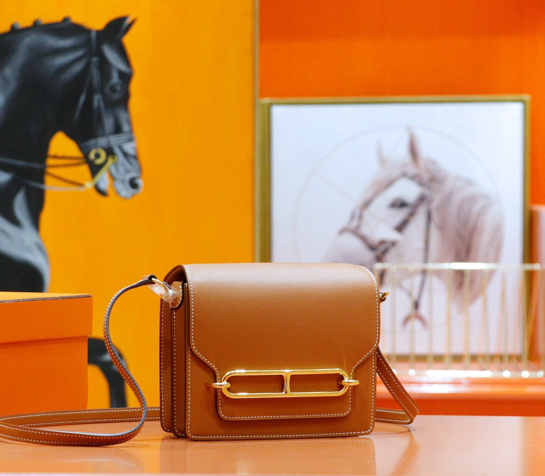 Hermès(爱马仕)Roulis 猪鼻包 金棕 Evercolor 全手缝 金扣 19cm
