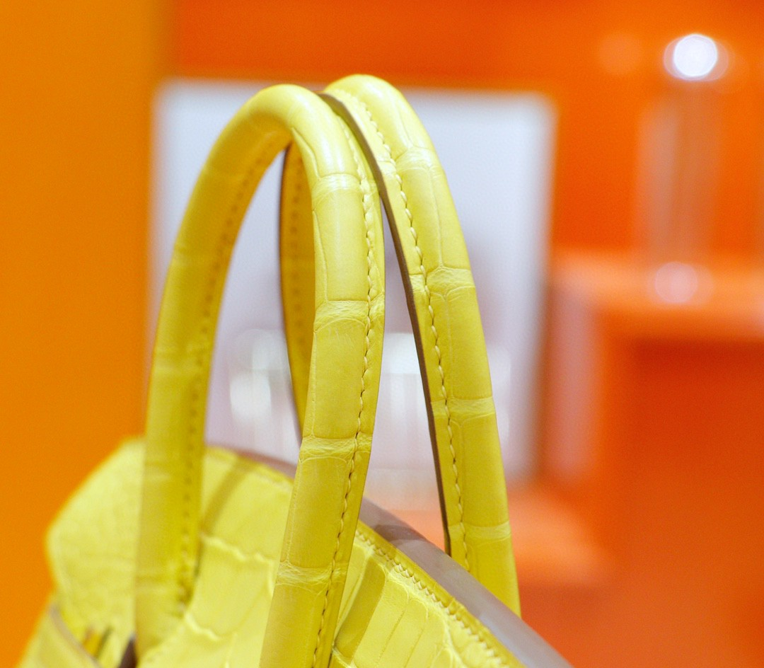 Hermès(爱马仕)Birkin 铂金包 金盏花黄 雾面鳄鱼皮 金扣 25cm
