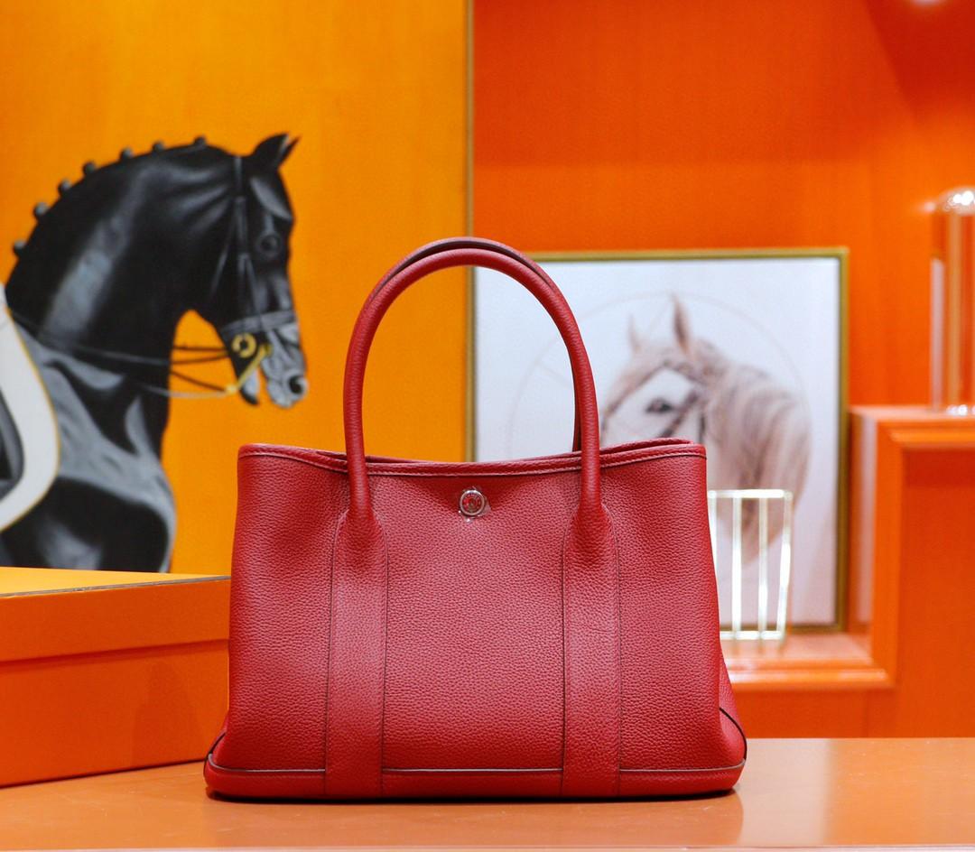 Hermès(爱马仕)Garden party 花园包 国旗红 Togo 全手缝 银扣 30cm