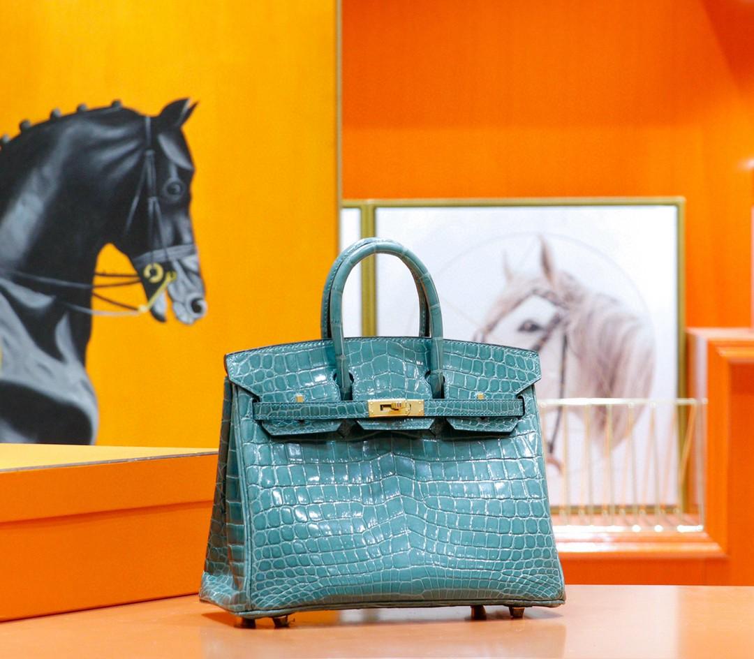 Hermès(爱马仕)Birkin 铂金包 维罗纳绿 亮面鳄鱼皮 金扣 25cm