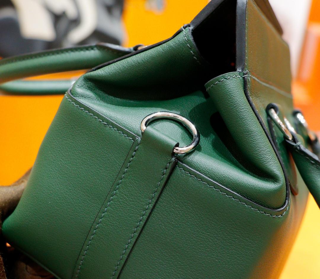 Hermès(爱马仕)Toolbox 牛奶包 军绿 Swift 全手缝 银扣 27cm