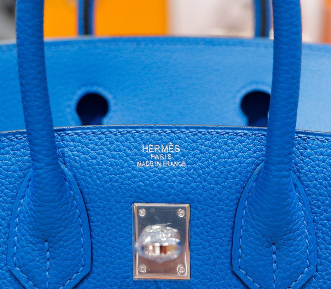 Hermès(爱马仕)Birkin 铂金包 希腊蓝 Togo 全手缝 银扣 25cm