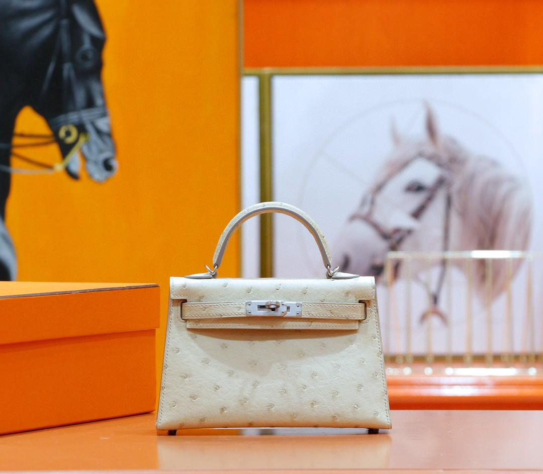 Hermès(爱马仕) Minikelly 迷你凯莉 羊毛白 南非鸵鸟皮 银扣 2代
