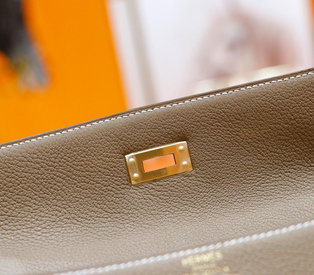 Hermès(爱马仕)Kelly 凯莉包 大象灰 Togo 全手缝 金扣 25cm