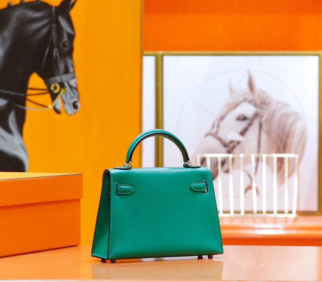 Hermès(爱马仕)Minikelly 迷你凯莉 竹子绿内拼马卡龙 山羊皮 银扣 2代 全手缝