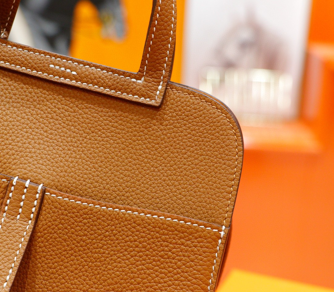 Hermès(爱马仕)Halzan 金棕 Togo拼Swift 全手缝 银扣 20cm