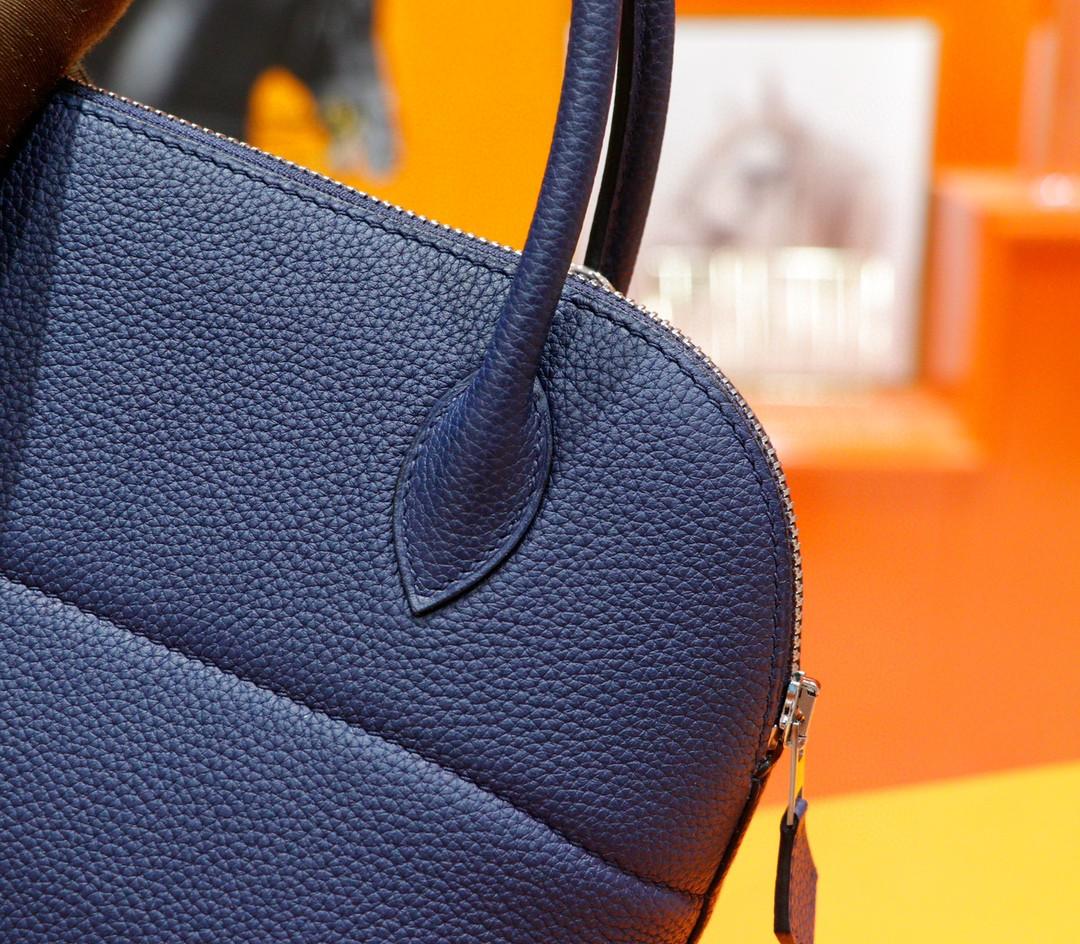 Hermès(爱马仕)Bolide 保龄球包 宝蓝色 Togo 全手缝 银扣 31cm