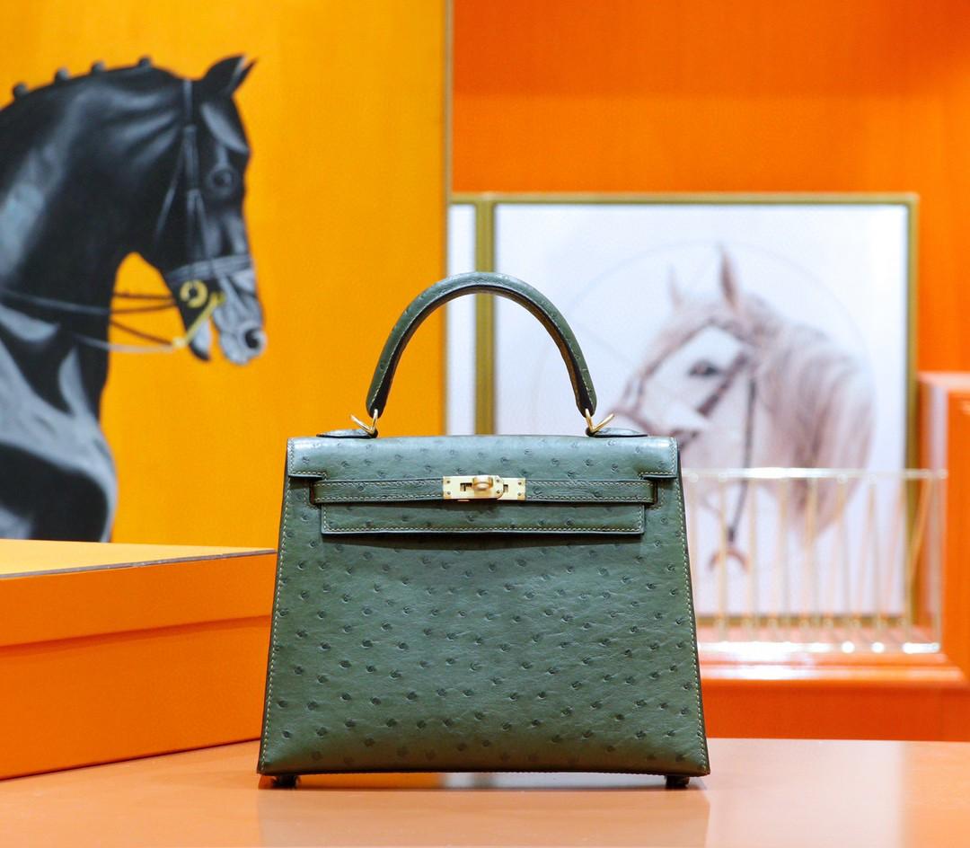 Hermès(爱马仕)Kelly 凯莉包 军绿色 南非鸵鸟皮 全手缝 金扣 25cm