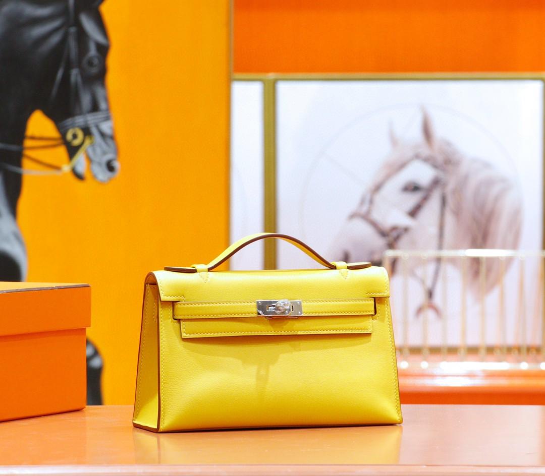 Hermès(爱马仕)Minikelly 迷你凯莉 一代 晚宴包 琥珀黄 Swift 银扣 全手缝