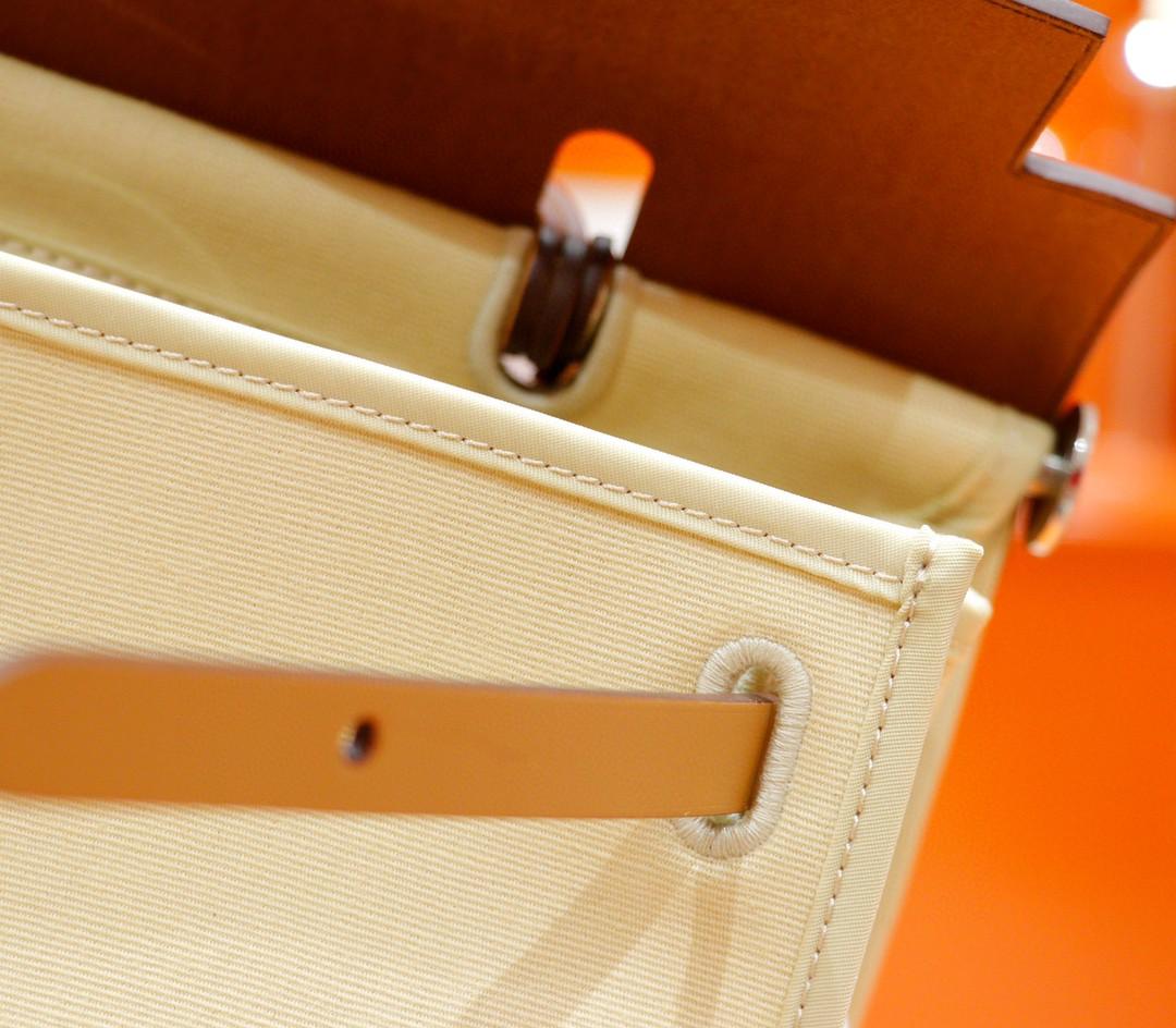 Hermès(爱马仕)herbag 香草色 原版帆布拼原厂皮 最高版本 银扣 31cm