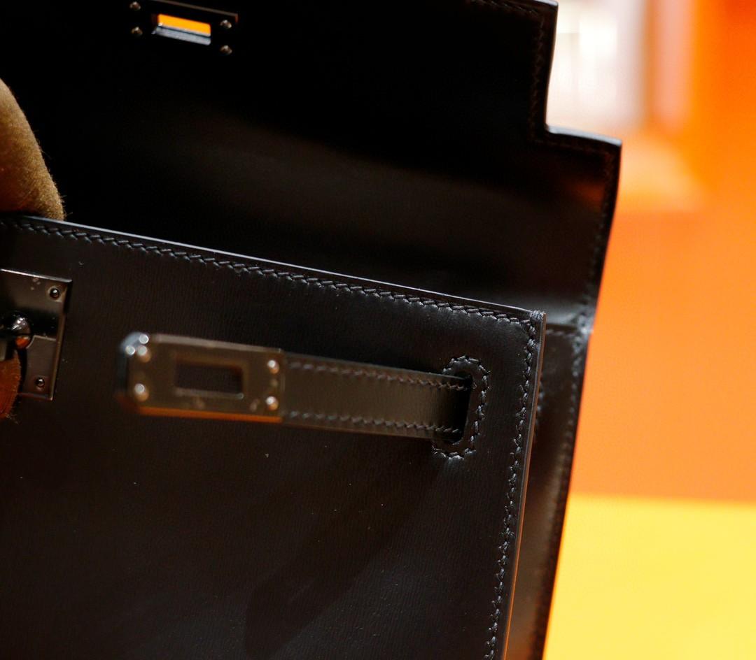 Hermès(爱马仕)Minikelly 迷你凯莉 晚宴包 黑色 Box 全手缝 黑色五金扣