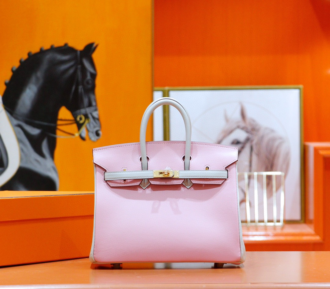 Hermès(爱马仕)Birkin 铂金包 奶昔粉拼珍珠灰 Swift 全手缝 金扣 25cm