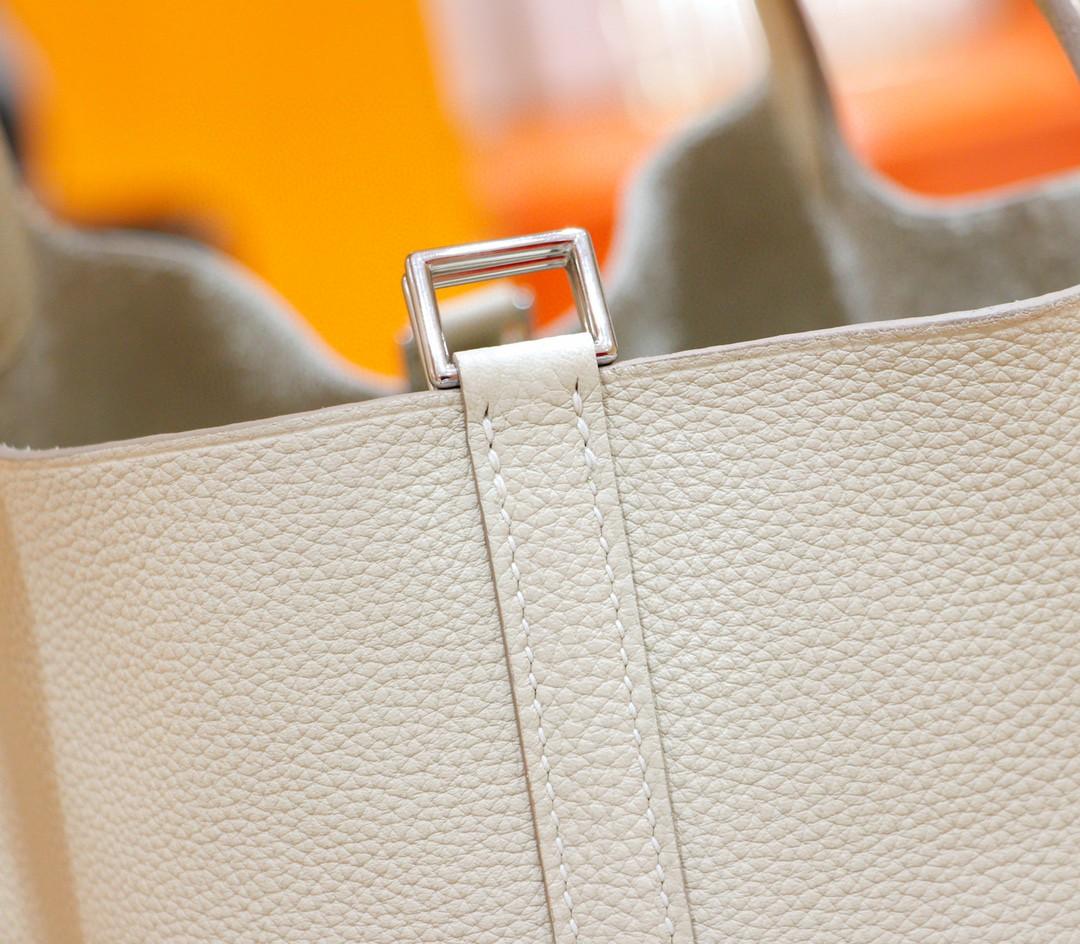Hermès(爱马仕)Picotin 菜篮子 奶昔白 Togo 全手缝 银扣 22cm